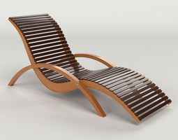 lounge chair outdoor wood patio deck 3d model
