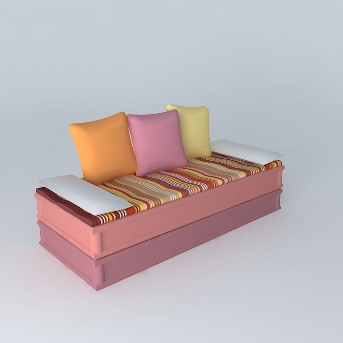 2-3 PROVENCE banquette seats Maisons du monde 3D model MAX OBJ MTL ...