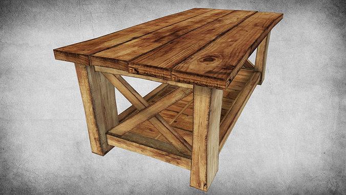 Bon Rustic Wood Table 02 3d Model Low Poly Max Obj 3ds Fbx Dae W3d 1 ...
