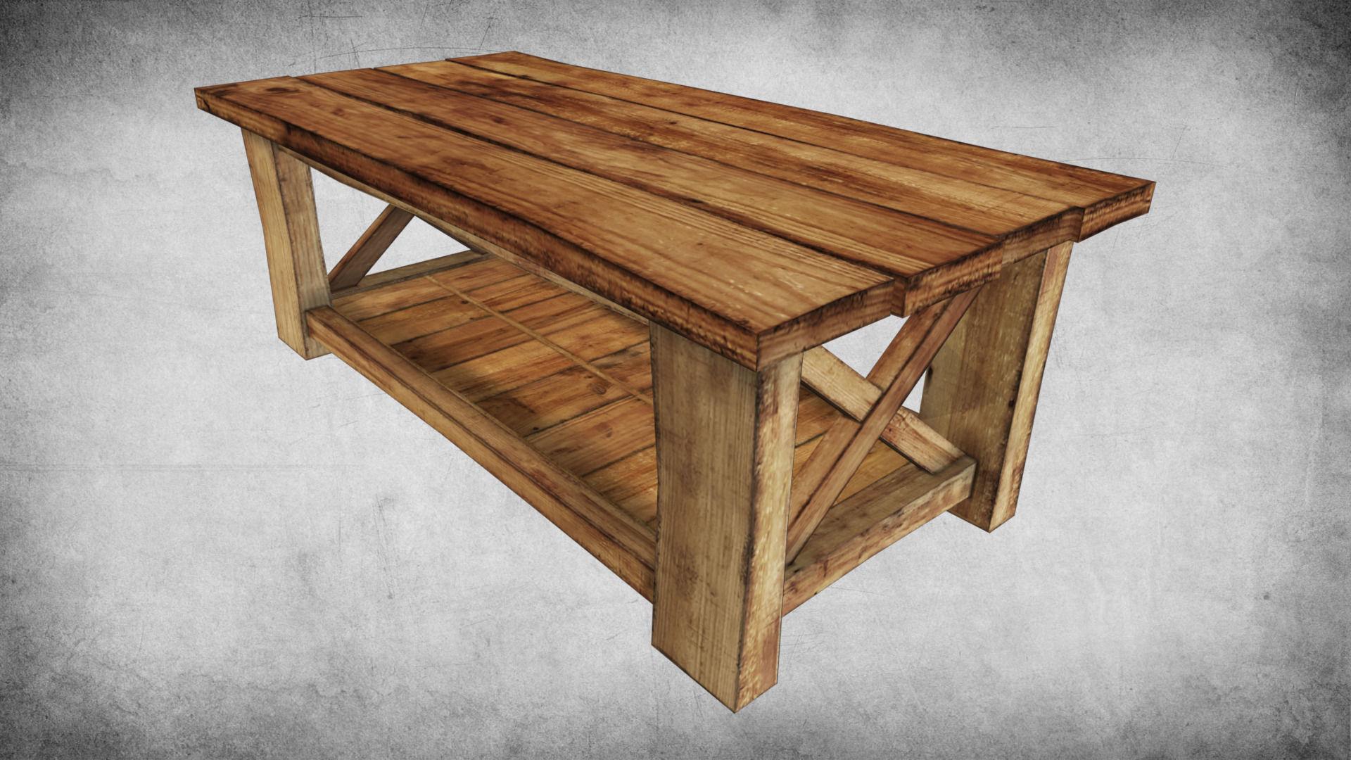 ... Rustic Wood Table 02 3d Model Low Poly Max Obj 3ds Fbx Dae W3d 2 ...