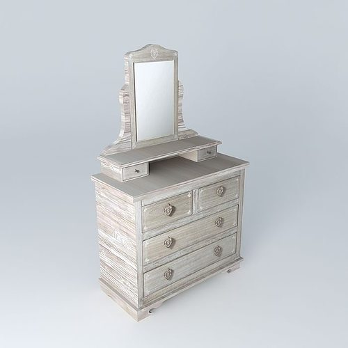 camille dressing table maisons du monde 3d model. Black Bedroom Furniture Sets. Home Design Ideas