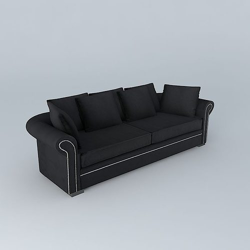 sofa plazza black linen maisons du monde 3d model max obj. Black Bedroom Furniture Sets. Home Design Ideas