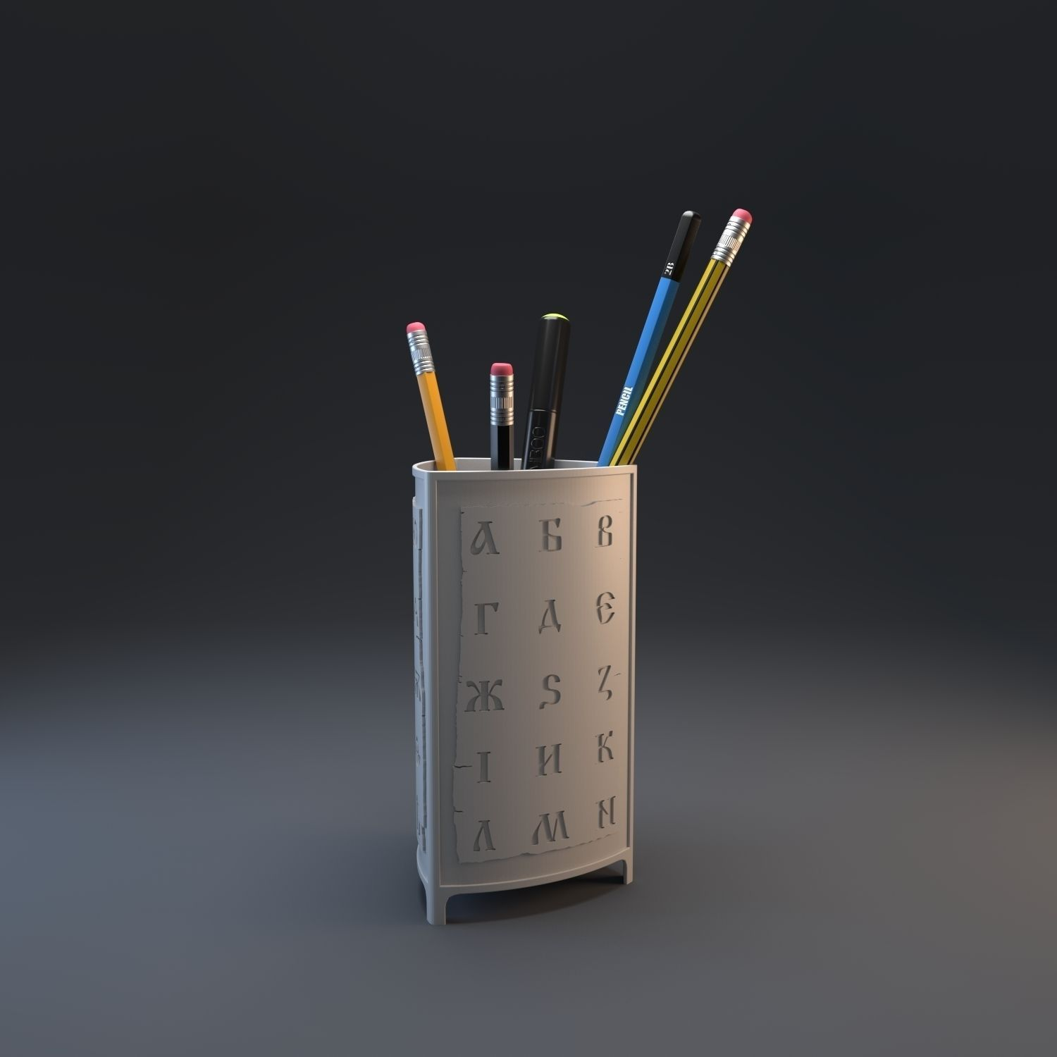 3D Print Model Azbuka Pencil Holder