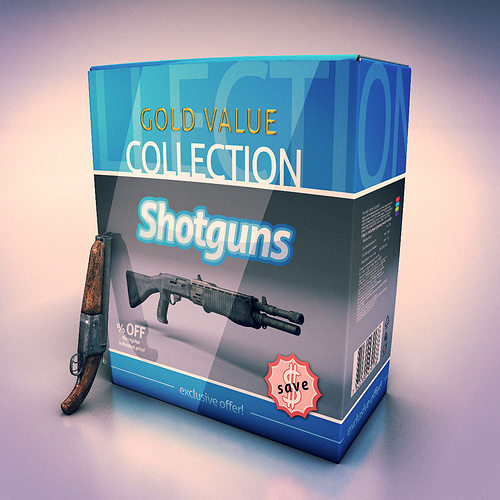low poly shotguns collection 3d model low-poly max obj fbx lwo lw lws ma mb tga 1
