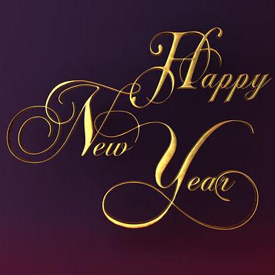 happy new year text 3d model obj mtl 3ds fbx c4d stl 1