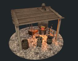 PBR realtime low poly blacksmith workshop 3d model