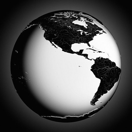 Earth Black And White 3D