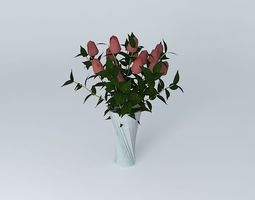 roses with vase 3D Model