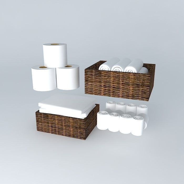 Bathroom Napkins 3d model towels and napkins with baskets | cgtrader