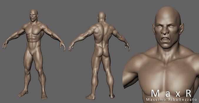 orc creature base mesh for sculpt 3d model obj mtl fbx 1