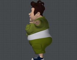 rigged low-poly big woman 3d model
