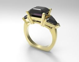 3D print model 4 ct asscher ring