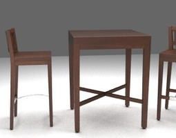 3d bar table and chairs