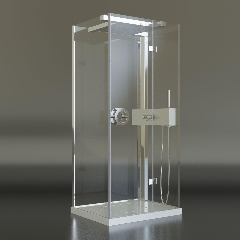 Tresse flat shower cabin free 3d model max fbx for 3d bathroom models