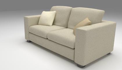 Burlap Sofa 3d Model Obj Mtl Fbx Blend 1