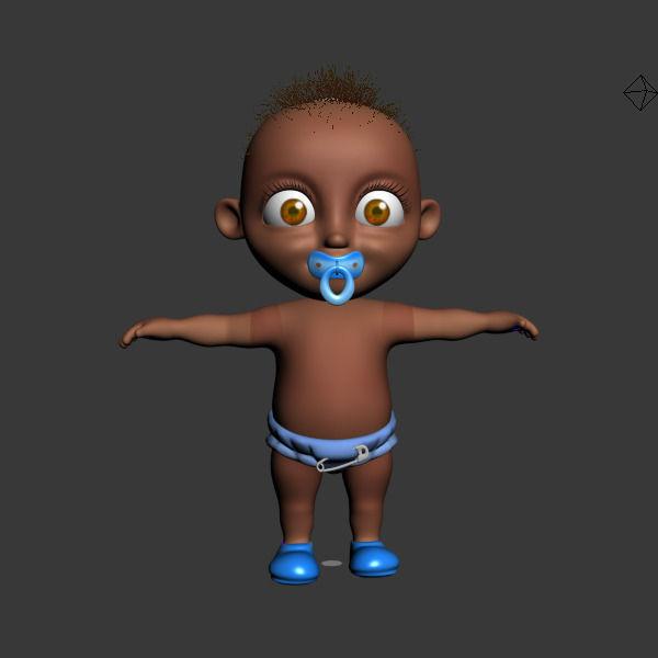 3d black baby cartoon rigged cgtrader rh cgtrader com black baby cartoon pic black baby cartoon clip art