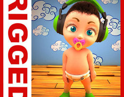 Hip Hop baby Cartoon Rigged  3D Model