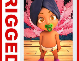 indian baby cartoon rigged  3d model max obj ma mb