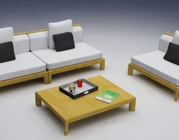 3d exterior chairs and table