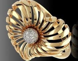 Heart ring with diamond stones 3D Model