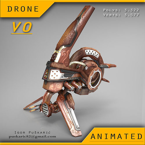 drone v0 wood - animated 3d model low-poly rigged animated max obj mtl fbx dae tga 1