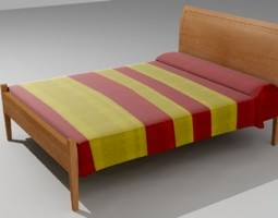 wooden bed 3d