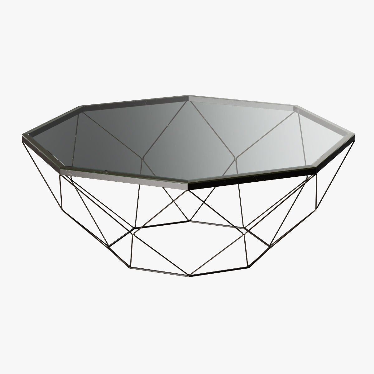 Geometric Antique Brass Coffee Table With ... 3D Model