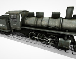 low-poly animated steam locomotive ls 08 3d model