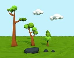 3d model mini low poly  nature pack low-poly
