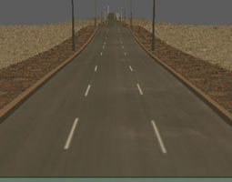 3D model low-poly low poly road