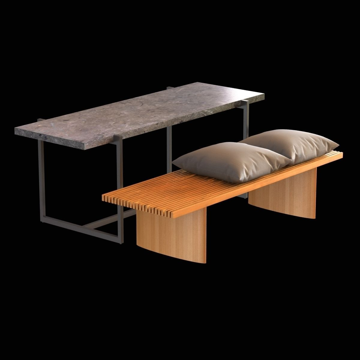 Stone And Wood Bench: Wood Bench With Cushions And Stone Table 3D Model .max