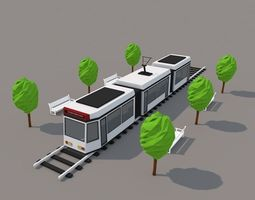 game-ready low poly city tram 3d asset