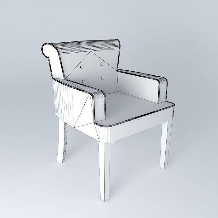 linen armchair boudoir maisons du monde 3d model max obj 3ds fbx stl dae. Black Bedroom Furniture Sets. Home Design Ideas