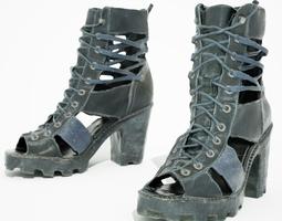3d model realtime black sandal heels