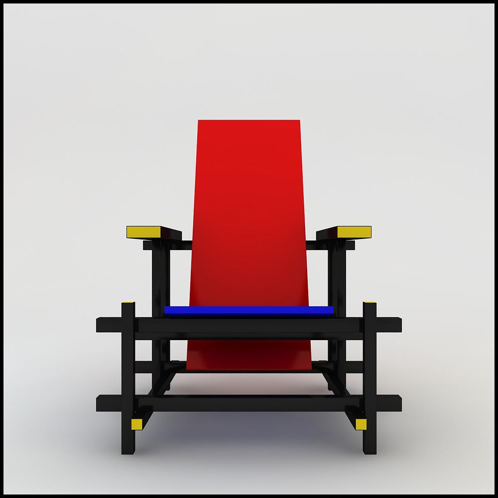Gerrit Thomas Rietveld Red Blue Chair 3d Models