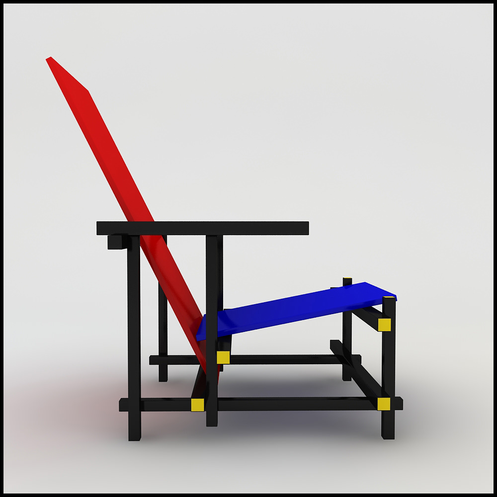 Gerrit Thomas Rietveld Red Blue Chair 3D Models CGTradercom