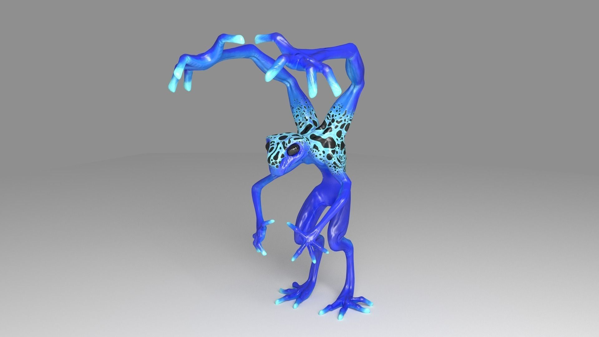 low poly four armed alien