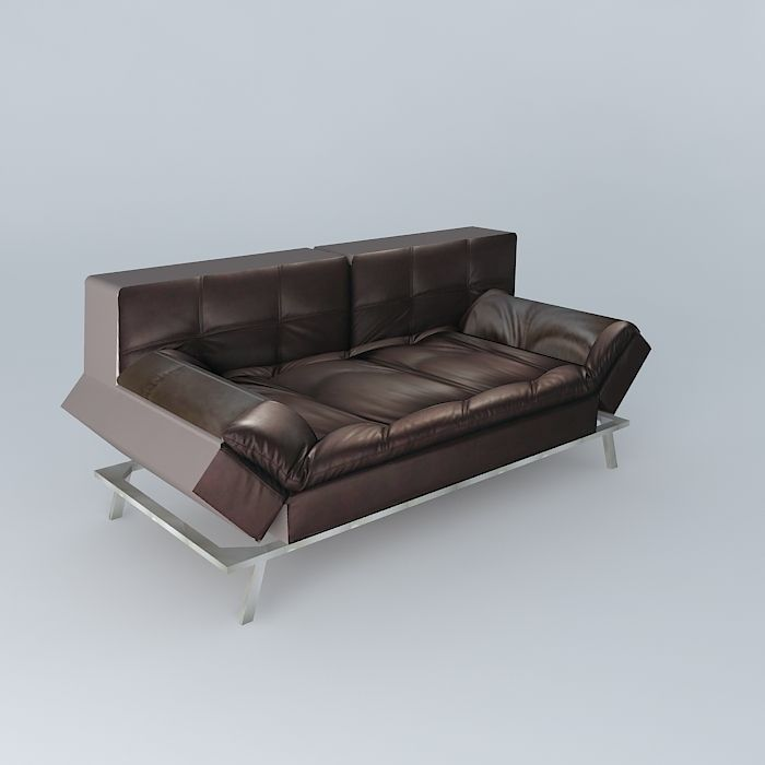 sofa brown denver maisons du monde 3d model max obj 3ds. Black Bedroom Furniture Sets. Home Design Ideas