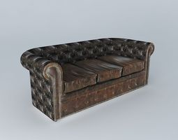 3p brown leather sofa vintage houses the world 3d