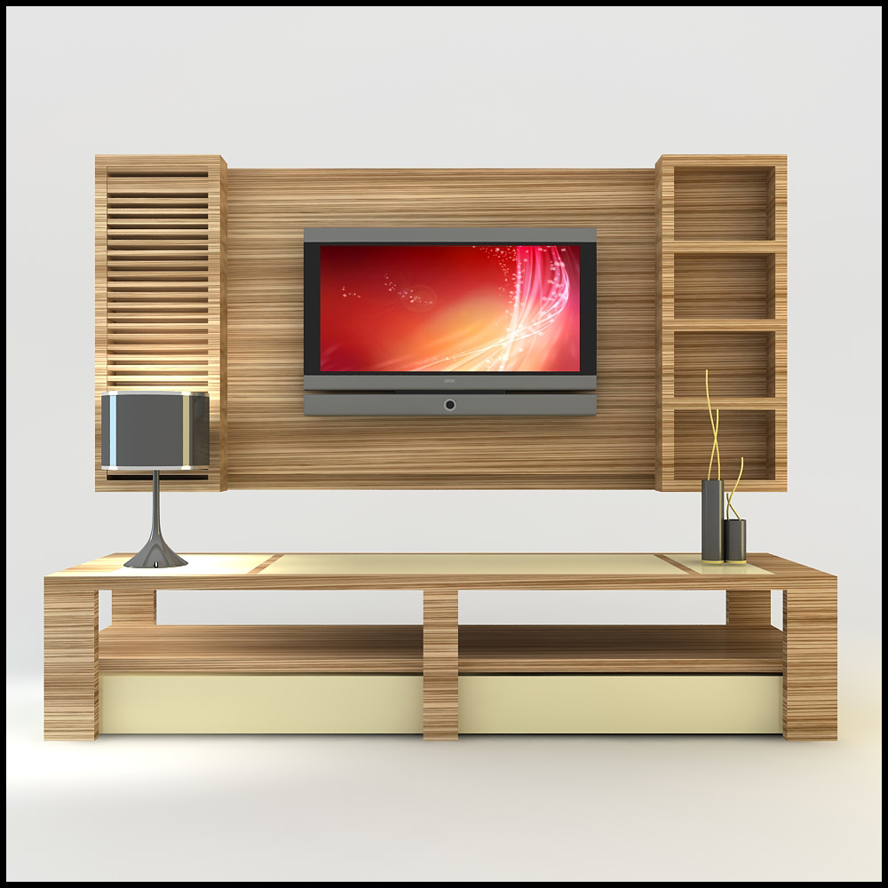 Modern 3d shelf unit for your living room interior for Latest lcd wall unit designs
