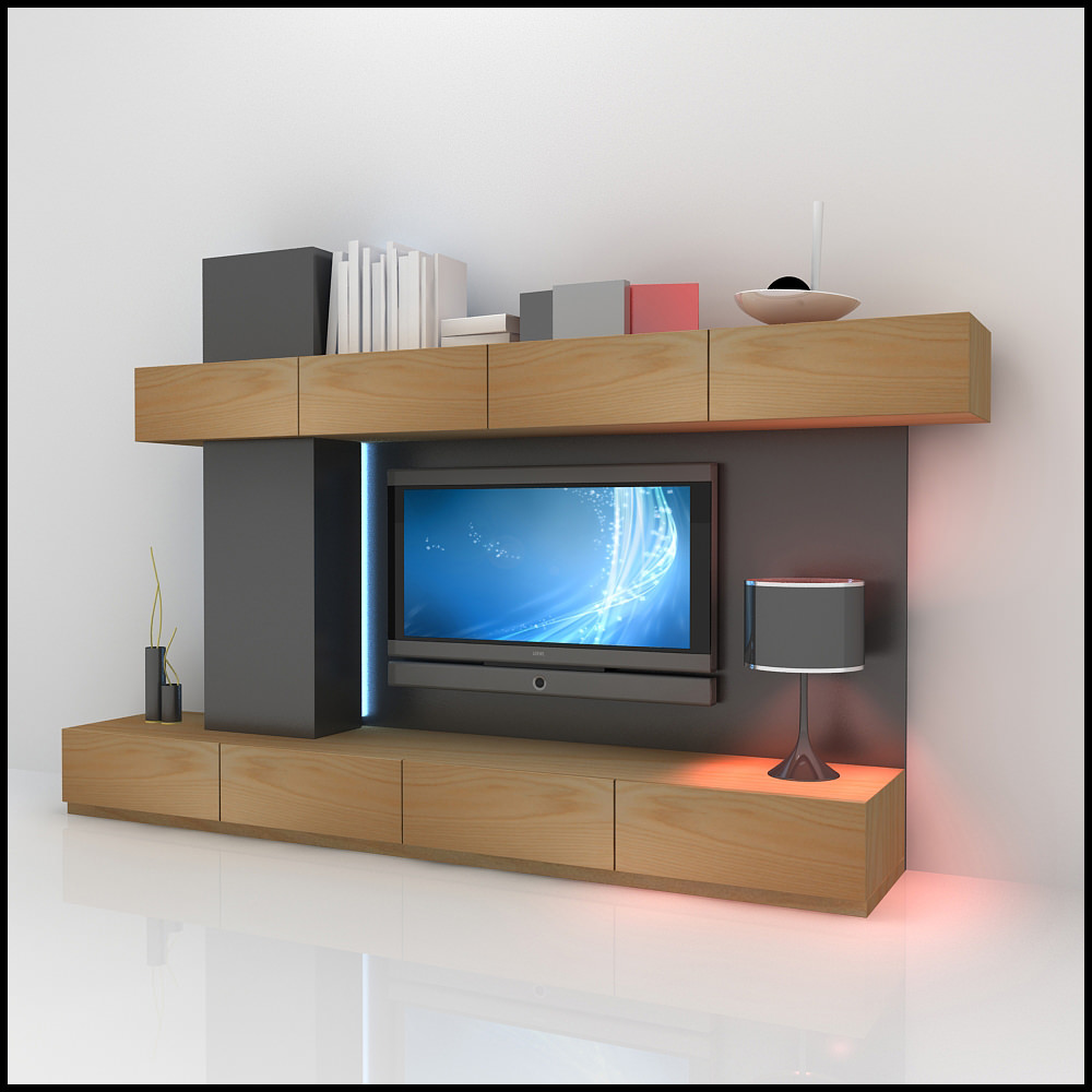Tv wall unit modern design x 06 3d models for Latest lcd wall unit designs