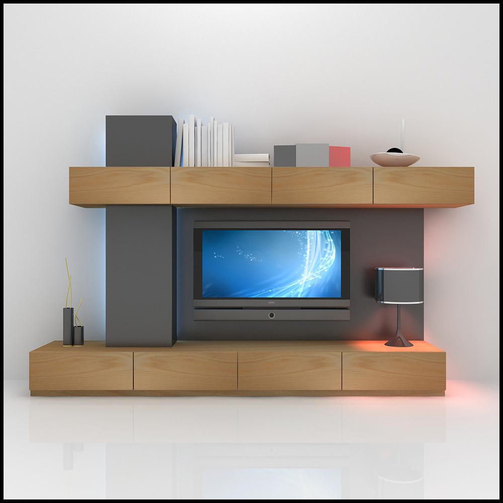 Tv wall unit modern design x 06 3d models cgtradercom for Modern tv wall design