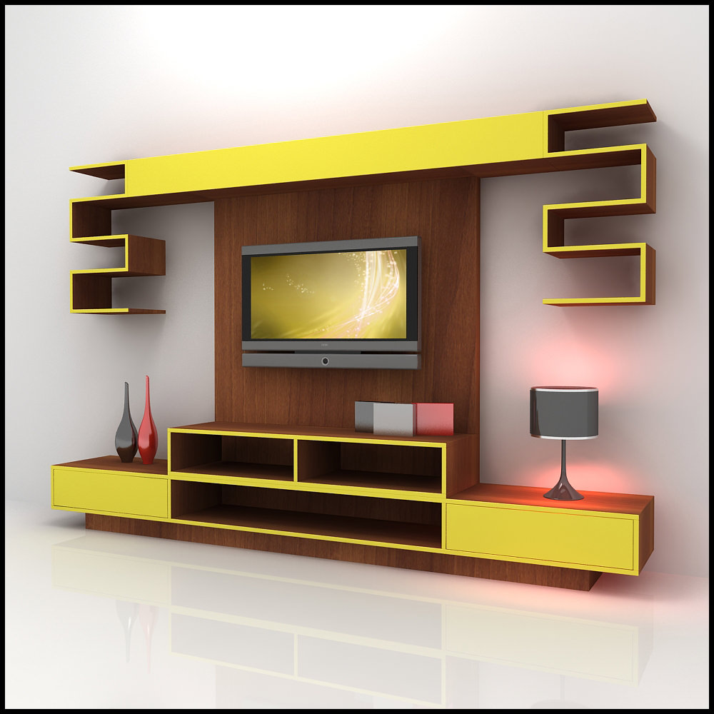 Modern 3d shelf unit for your living room interior for Interior design ideas living room tv unit