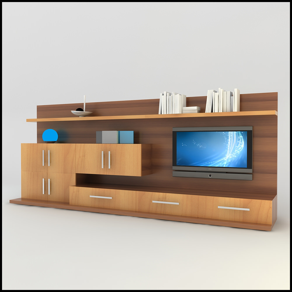 Tv wall unit modern design x 13 entertainment center scene 3d models - Modern tv wall unit ...