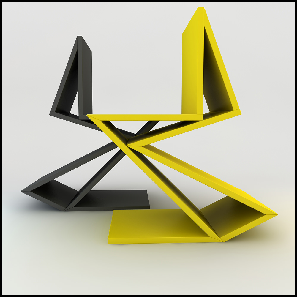 gerrit rietveld 1938 zig zag chair remix 3d models. Black Bedroom Furniture Sets. Home Design Ideas