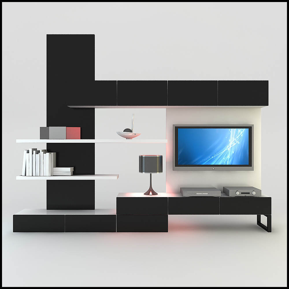 TV / Wall Unit Modern Design X_20 3D Model .max .obj .3ds .c4d ...