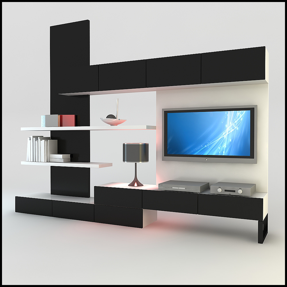 Tv wall unit modern design x 20 for Latest lcd wall unit designs