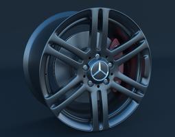 3d model mercedes benz rim and brake