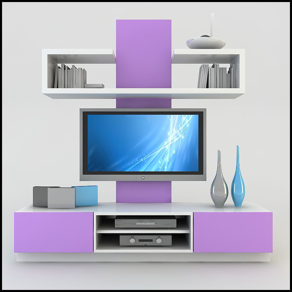 Tv Wall Unit Modern Design X 19 3D Models