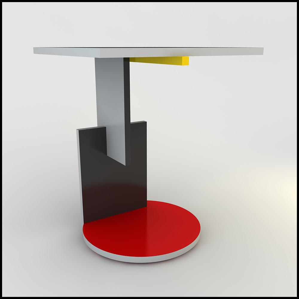Gerrit Rietveld Schroeder Table 3d Models